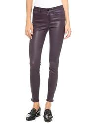 Черные кожаные узкие брюки от J Brand