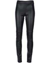 Женские черные кожаные узкие брюки от Joseph