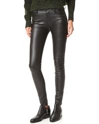 Черные кожаные узкие брюки от Mackage