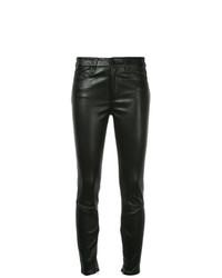 Черные кожаные узкие брюки от Nobody Denim