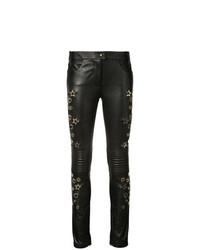 Черные кожаные узкие брюки от Philipp Plein