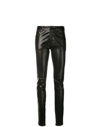 Черные кожаные узкие брюки от Saint Laurent