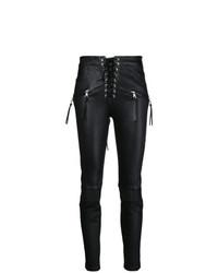 Черные кожаные узкие брюки от Unravel Project