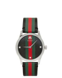 Мужские черные кожаные часы в горизонтальную полоску от Gucci