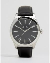 Мужские черные кожаные часы от Armani Exchange