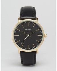 Мужские черные кожаные часы от Asos