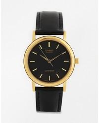 Мужские черные кожаные часы от CASIO