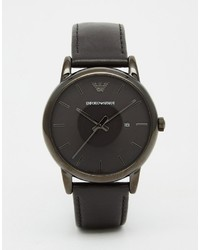Мужские черные кожаные часы от Emporio Armani