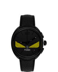 Мужские черные кожаные часы от Fendi