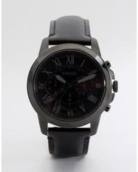 Мужские черные кожаные часы от Fossil