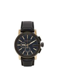 Мужские черные кожаные часы от Gucci