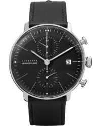 Мужские черные кожаные часы от Junghans