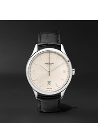 Мужские черные кожаные часы от Montblanc