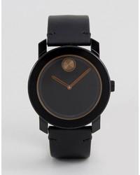 Мужские черные кожаные часы от Movado