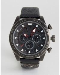 Мужские черные кожаные часы от Police
