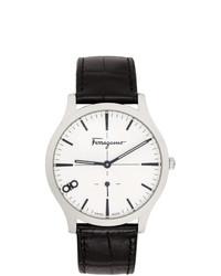 Мужские черные кожаные часы от Salvatore Ferragamo