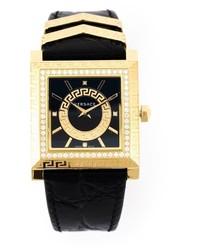 Мужские черные кожаные часы от Versace