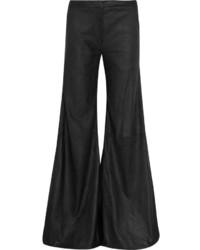 Черные кожаные широкие брюки