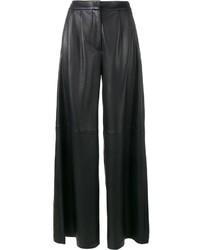 Черные кожаные широкие брюки от ADAM by Adam Lippes