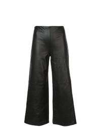Черные кожаные широкие брюки от Adam Lippes
