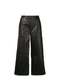 Черные кожаные широкие брюки от Chalayan