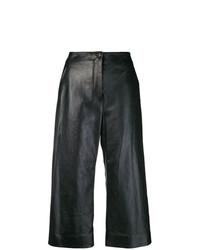 Черные кожаные широкие брюки от Nehera