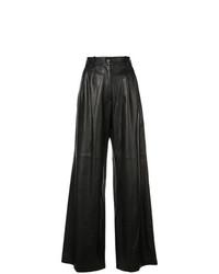 Черные кожаные широкие брюки от Nili Lotan