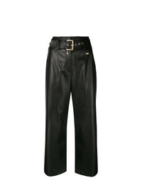 Черные кожаные широкие брюки от Patrizia Pepe