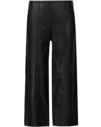 Черные кожаные широкие брюки от Vince