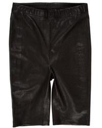 Черные кожаные шорты-бермуды
