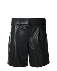 Женские черные кожаные шорты-бермуды от Saint Laurent
