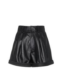 Женские черные кожаные шорты от Saint Laurent
