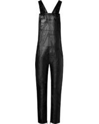 Черные кожаные штаны-комбинезон