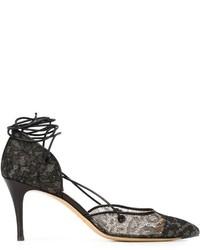 Женские черные кружевные туфли