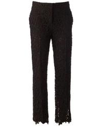 Черные кружевные узкие брюки от Valentino