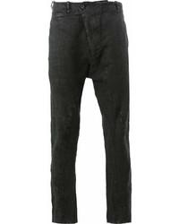 Черные льняные брюки чинос