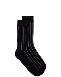 Черные носки в вертикальную полоску