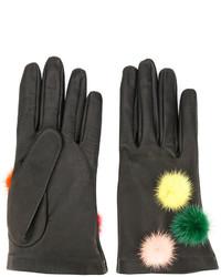 Женские черные перчатки от Fendi