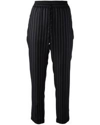 Черные пижамные штаны в вертикальную полоску