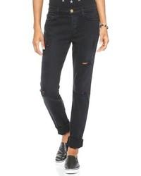 Черные рваные джинсы-бойфренды