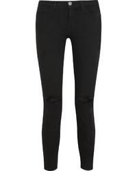 Женские черные рваные джинсы скинни от Current/Elliott