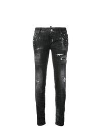 Черные рваные джинсы скинни от Dsquared2