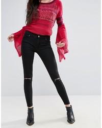 Черные рваные джинсы скинни от Free People