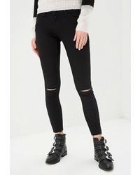 Черные рваные джинсы скинни от Jacqueline De Yong