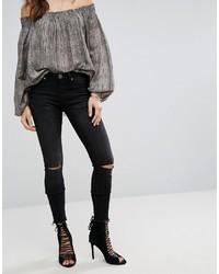 Женские черные рваные джинсы скинни от One Teaspoon