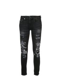 Черные рваные джинсы скинни от R13