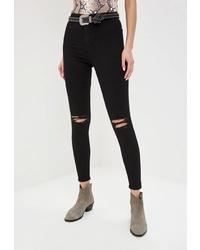 Черные рваные джинсы скинни от Topshop
