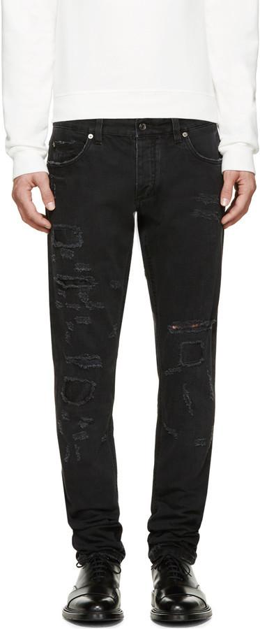 a382f4c8e1b ... Мужские черные рваные джинсы от Dolce   Gabbana ...