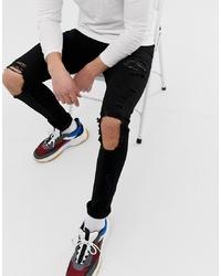 Мужские черные рваные зауженные джинсы от ASOS DESIGN