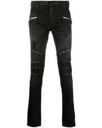 Мужские черные рваные зауженные джинсы от Balmain